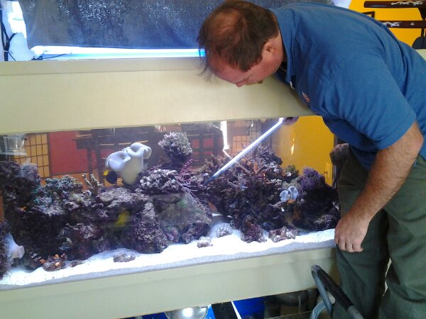 Andrew feeding Corals in a 150g reef tank